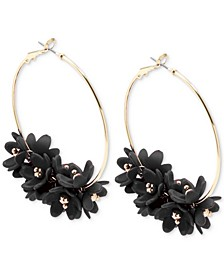 Gold-Tone Resin Flower Cluster Hoop Earrings