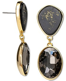 Gold-Tone Crystal & Gold-Fleck Black Stone Drop Earrings