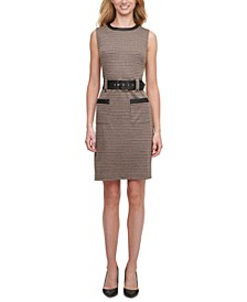 Faux-Leather-Trim Houndstooth A-Line Dress