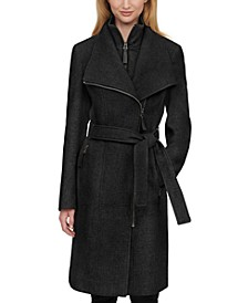 Faux-Leather Trim Belted Coat, Created for Macy's