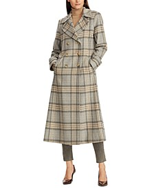 Plaid Double-Breasted Wool-Blend Coat