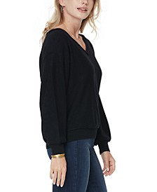 Dolman-Sleeve V-Neck Sweater