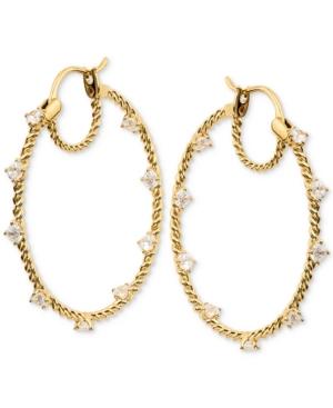 Stone Embellished Hoop Earrings