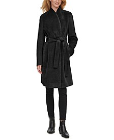 Faux-Fur-Front Belted Teddy Wrap Coat