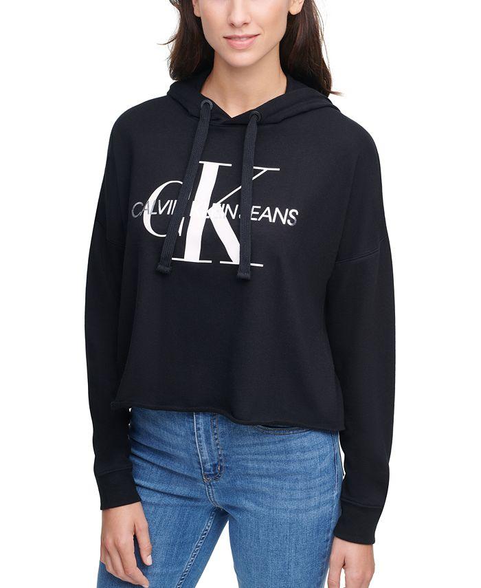 Calvin Klein Jeans - Logo Hooded Cropped Sweatshirt