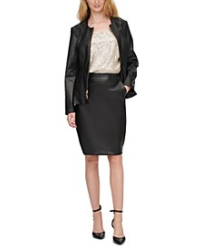 Leather Jacket, Sequin Top & Leather Skirt