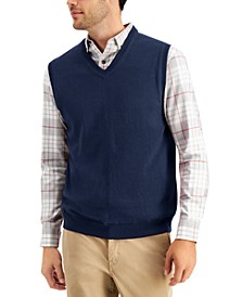 Men's Solid V-Neck Sweater Vest, Created for Macy's