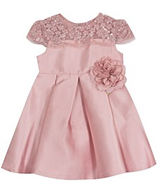 Baby Girls Mikado Dress With Embroidered Illusion Bodice