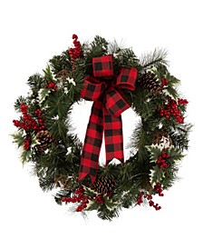 LED Pre-Lit Greenery Buffalo Bow Berry Holly Pine Cone Rattan Ornament Wreath