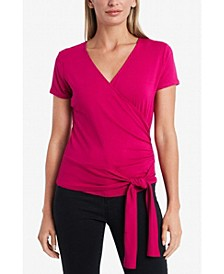 Women's Cap Sleeve Faux Wrap Tie Waist Top