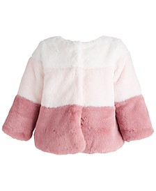 Baby Girls Pieced Fleece Coat, Created for Macy's