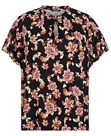 Plus Size Floral Flutter-Sleeve Top