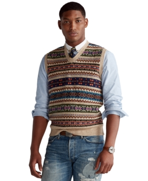 1920s Style Mens Vests Polo Ralph Lauren Mens Fair Isle Sweater Vest $228.00 AT vintagedancer.com