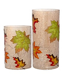 s/2 Glass Leaves Cylinder Lights
