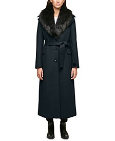 Faux-Fur-Collar Maxi Coat