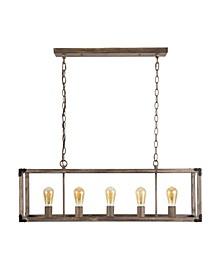 Magnolia 5-Light Linear Adjustable Rustic Farmhouse LED Pendant