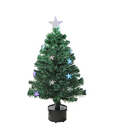 Pre-Lit Colour Changing Fibre Optic Christmas Tree with Stars