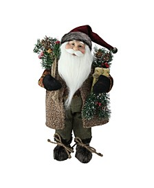 Country Rustic Standing Santa Claus Christmas Figure with Present