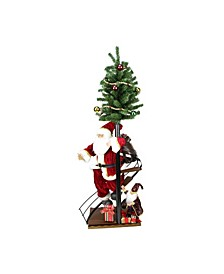 Santa Claus On Spiral Staircase with Tree and Elf Christmas Figure On Wooden Base