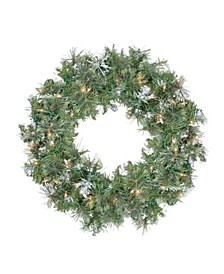 Pre-Lit Snow Mountain Pine Artificial Christmas Wreath-Clear Lights