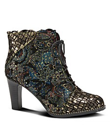 Women's Glitterail Lace-Up Heel Booties