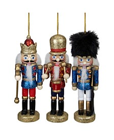 Glittery Assorted Classic Nutcracker Ornaments, Set of 3