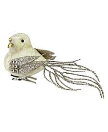 Glitter French Vanilla Bird Clip Ornament