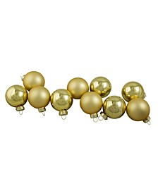 10 Count Shiny and Matte Champagne Glass Ball Christmas Ornaments