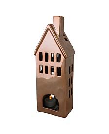 Shiny Copper Ceramic House Tea Light Candle Holder