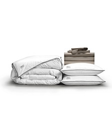 Classic Cool Crisp Perfect 10-Piece Bedding Bundle with White Goose Down, California King