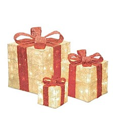 Sisal Lighted Gi Boxes with Red Bows Outdoor Christmas Decorations