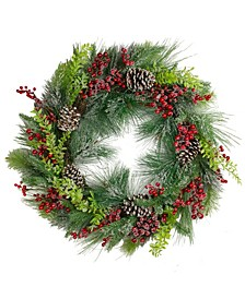 Iced Berries and Mixed Pine Artificial Christmas Wreath