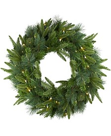 Pre-Lit Mixed Rose Mary Emerald Angel Pine Artificial Christmas Wreath