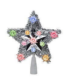 Lighted Silver Tone Star Christmas Tree Topper