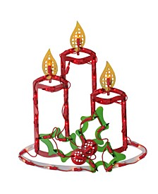 Lighted Candles with Holly and Berry Christmas Window Silhouette