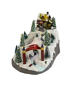 LED Animated and Lighted Christmas Scene with 3 Turning Skiers-Pre-Lit
