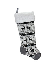 Rustic Lodge Knit Christmas Stocking with Sherpa Cuff