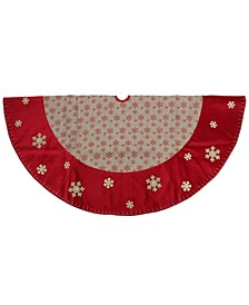 Burlap Glitte Snowflake Rustic Christmas Tree Skirt with Velvet Textured Trim