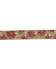 and Poinsettia Christmas Wired Craft Ribbon Yards