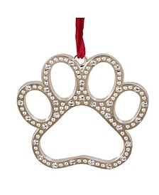Paw Print with European Crystals Christmas Ornament