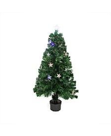 Pre-Lit LED Fibre Optic Artificial Christmas Tree with Stars-Multi Lights