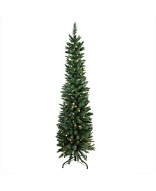 Pre-Lit LED Northern Balsam Fir Pencil Artificial Christmas Tree