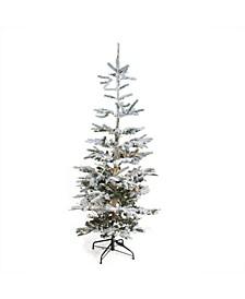 Pre-Lit Noble Fir Artificial Flocked Christmas Tree-Warm LED Lights