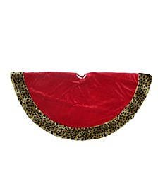 Safari and Velveteen with Plush Cheetah Print Christmas Tree Skirt