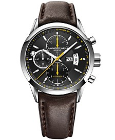 RAYMOND WEIL Watch, Men's Swiss Automatic Freelancer Brown Leather Strap 42mm 7730-STC-20021