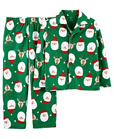 Little & Big Boys 2-Pc. Fleece Santa & Reindeer Pajamas Set