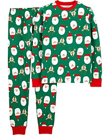 Adult Unisex Family Santa & Reindeer Cotton Pajamas Set