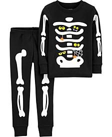 Toddler Boy & Girl 2-Piece Halloween Skeleton Snug Fit Cotton PJs