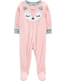 Toddler Girl 1-Piece Fox Fleece Footie PJs