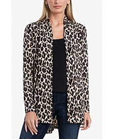 Women's Open Front Printed Knit Cardigan